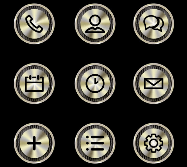 gold chrome icons