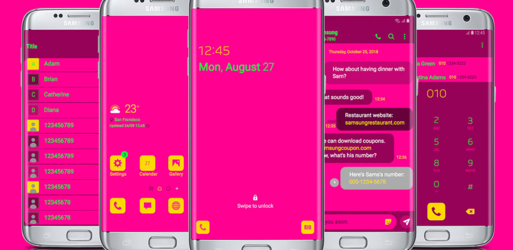 Pink and Yellow and Lime Neon Flat